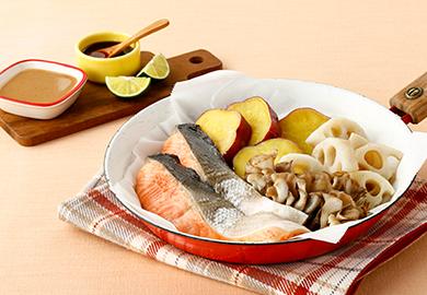 鮭と秋野菜の酒蒸し