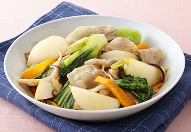 かぶとチンゲン菜のあごだし中華炒め